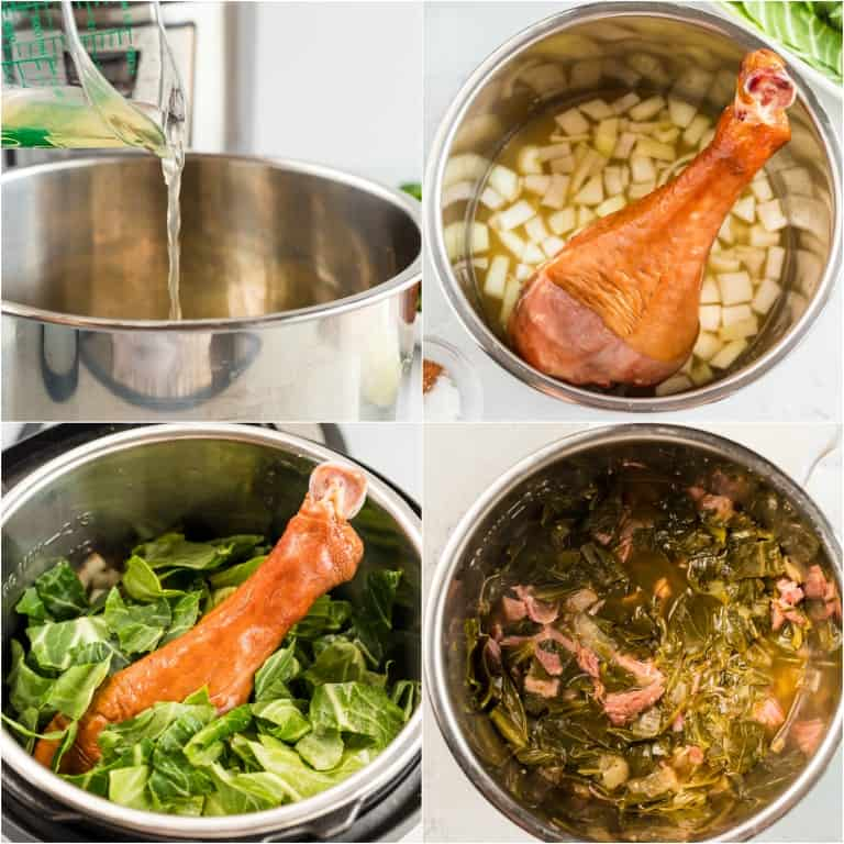 image collage showing the steps for making instant pot collard greens