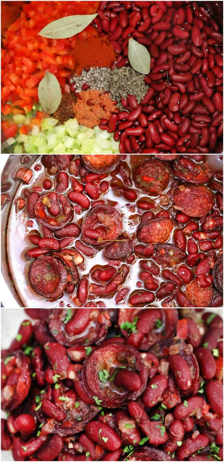 image collage showing the steps for making instant pot red beans and rice