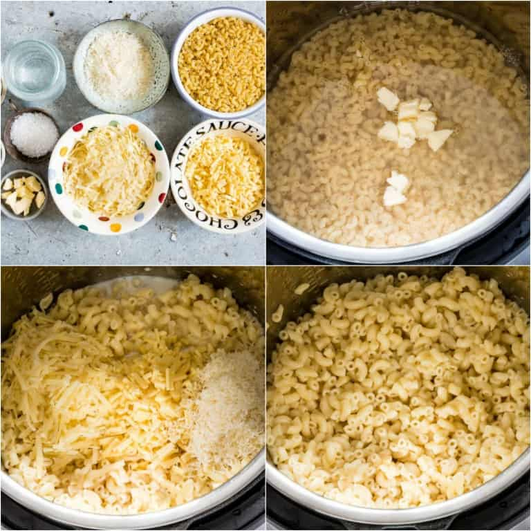 image collage showing the steps for making instant pot mac and cheese