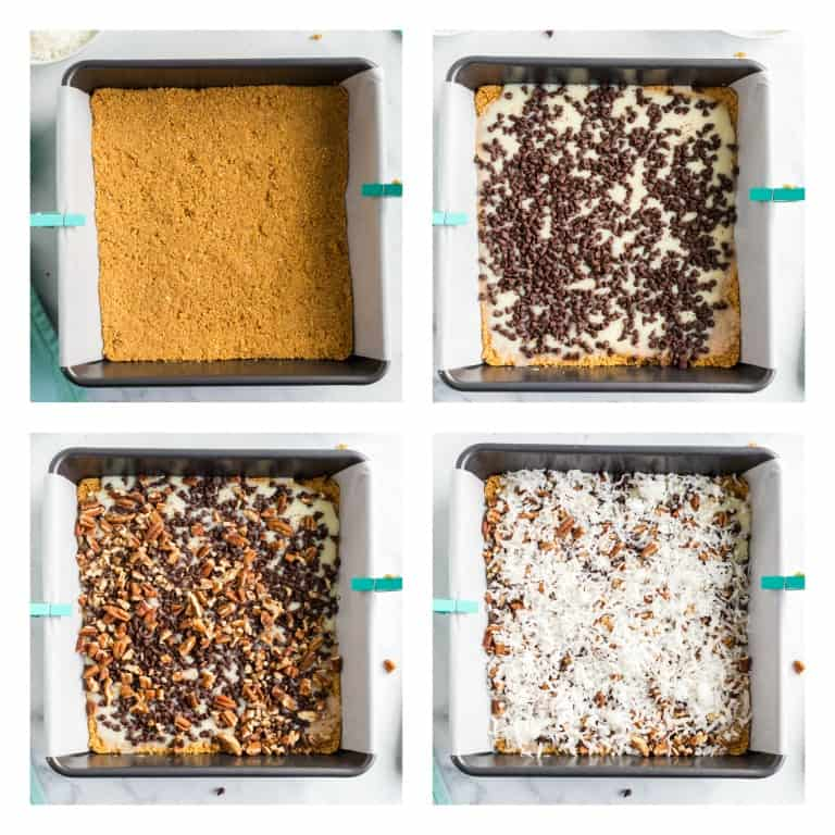 image collage showing the steps for making magic cookie bars