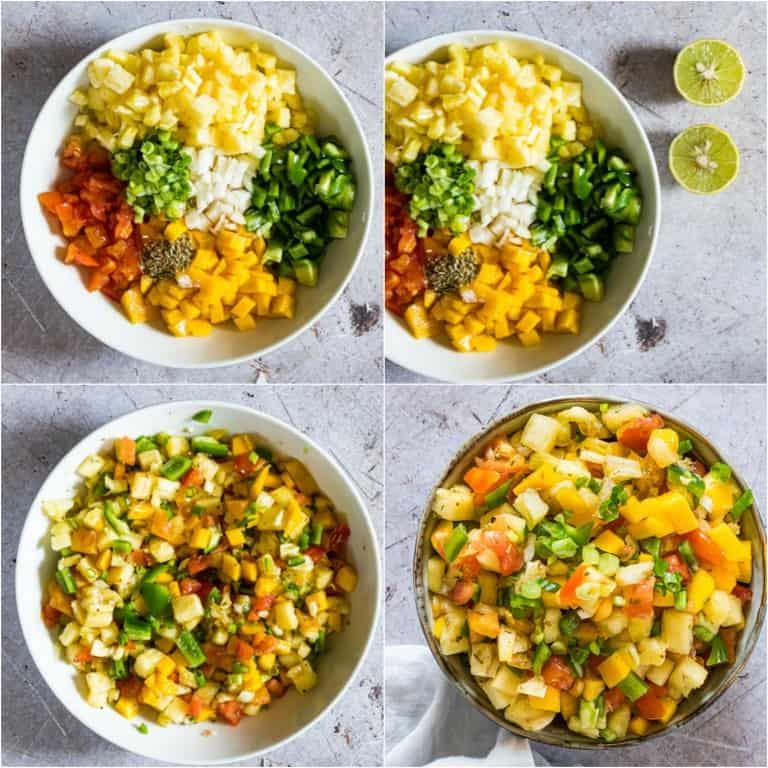 image collage showing the steps for making mango pineapple salsa