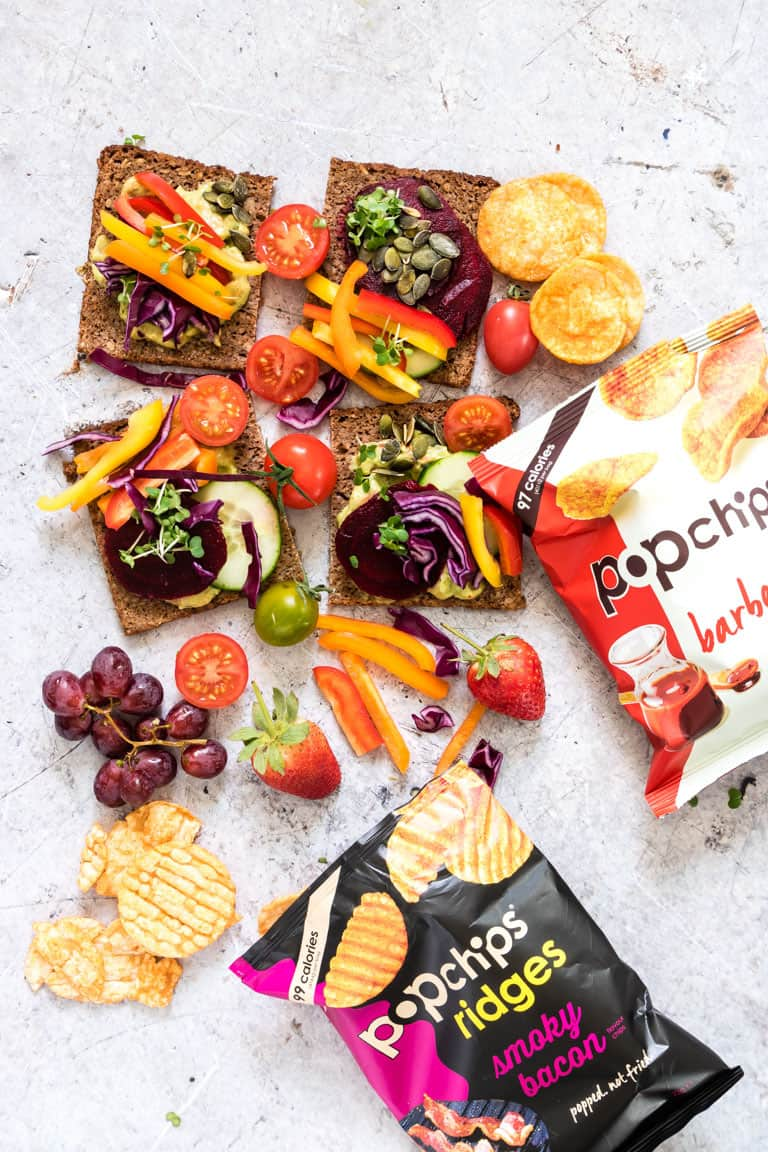 rainbow sandwich display surrounded by fresh vegetables, fruit and popchips
