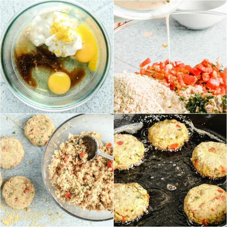 image collage showing the steps for making salmon croquettes