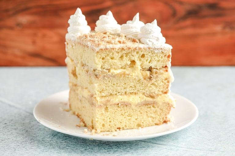 3/4 view of a slice of banana pudding cake