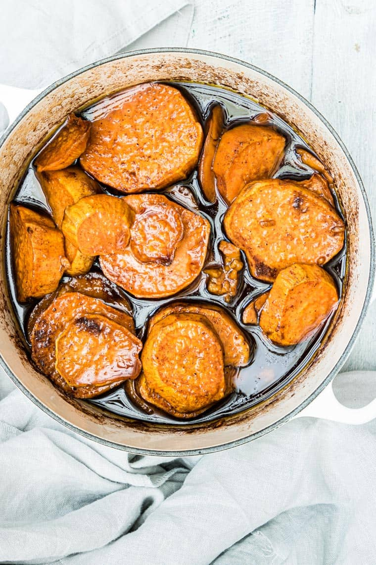 candied sweet potatoes in a large dish