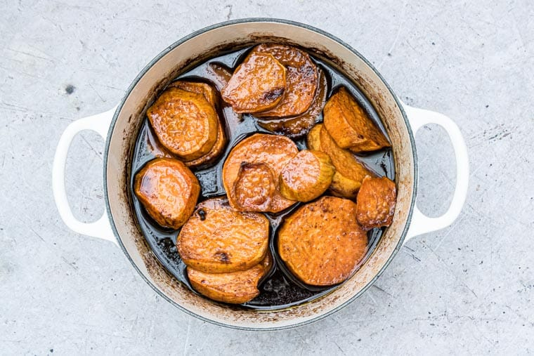 candied sweet potatoes ready to serve
