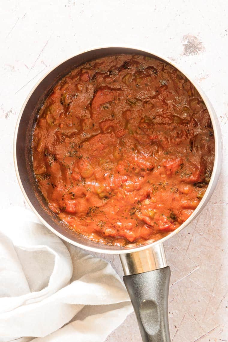 top down view of a pot of finished creole sauce
