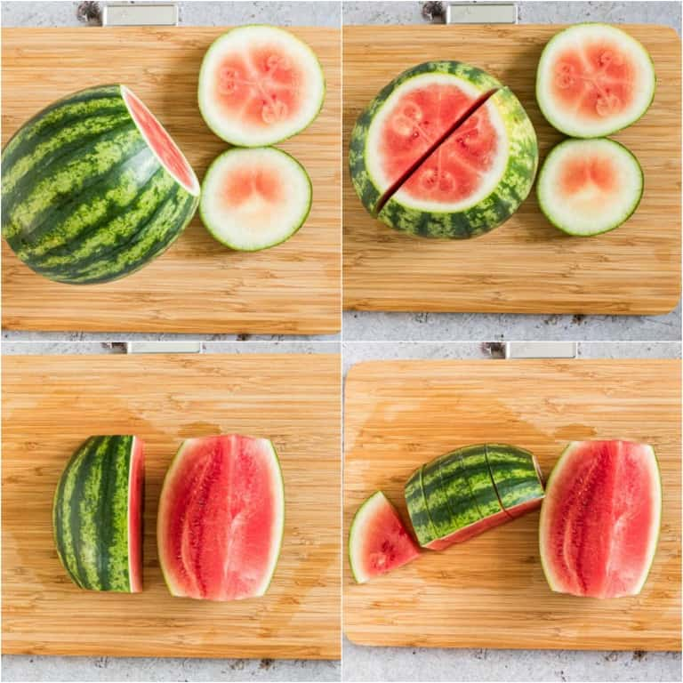 imagre collage showing the steps for how to cut a watermelon