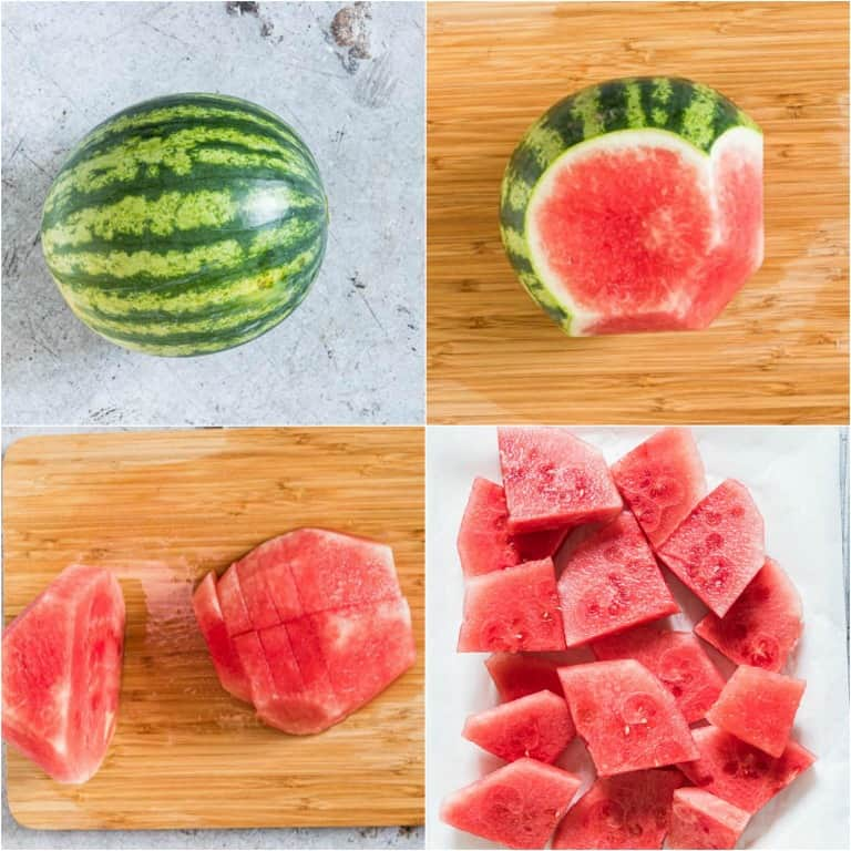 imager collage showing how to peel a watermelon and then cut it