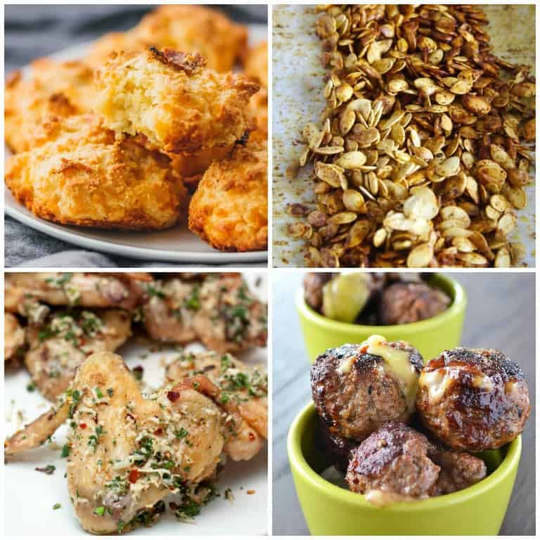 four keto snacks including keto biscuits, pumpkin seeds, wings, and cheese balls