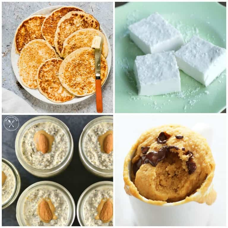 four different keto snacks including keto pancakes, keto jelly, keto overnight oats, and keto mug cake