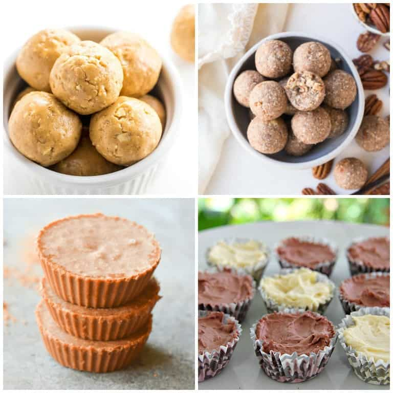 four different keto fat bombs for keto snacks including peanut butter, pecan, chocolate fat bombs