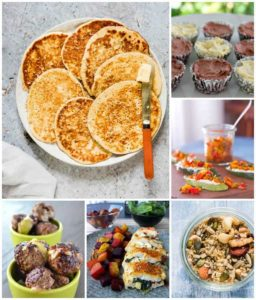roundup of six photos of keto snacks including pancakes, meat balls, keto granola
