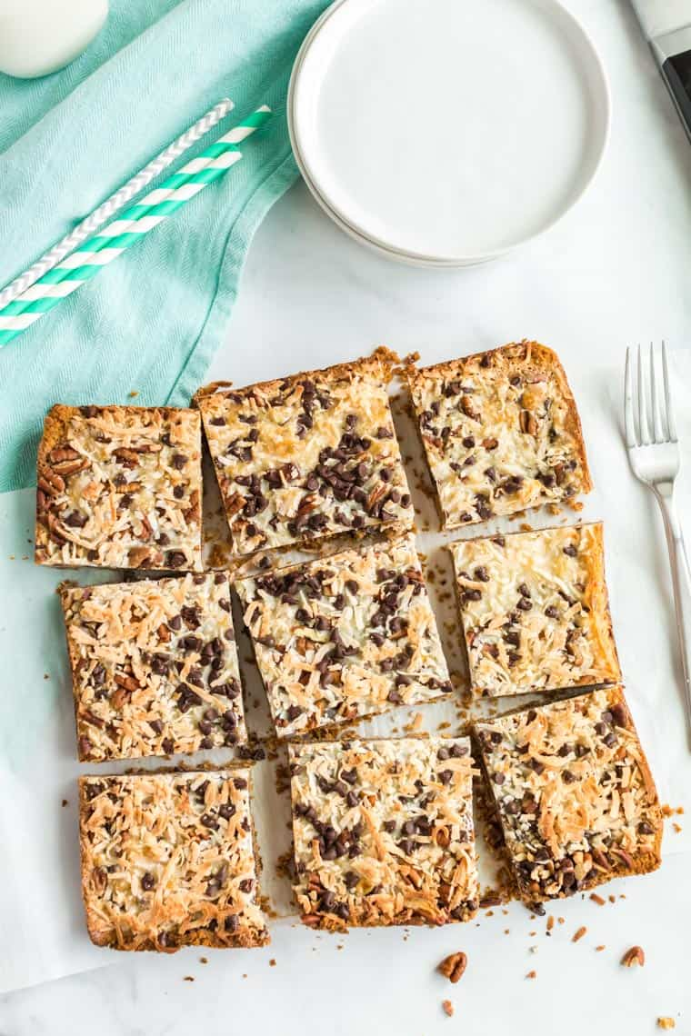 close up pf sliced magic cookie bars