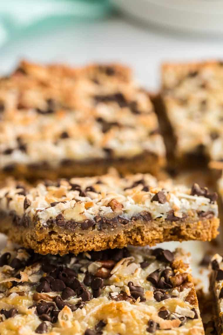 close up of magic bars with coconut and chocolate