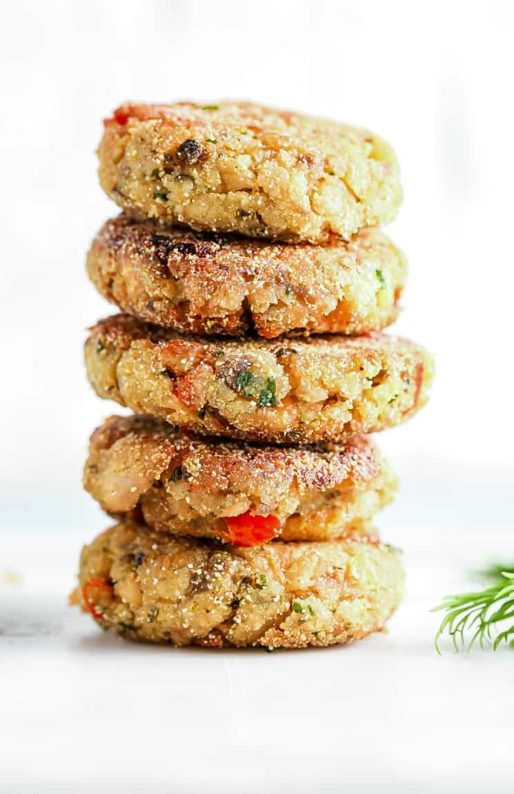 a stack of cooked salmon croquettes