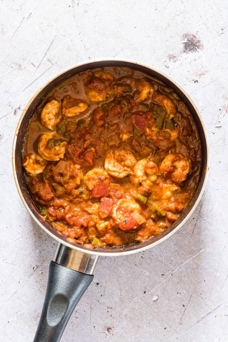 shrimp creole in a pan