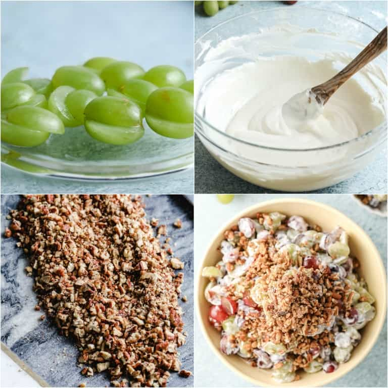 image collage showing the steps for making southern grape salad
