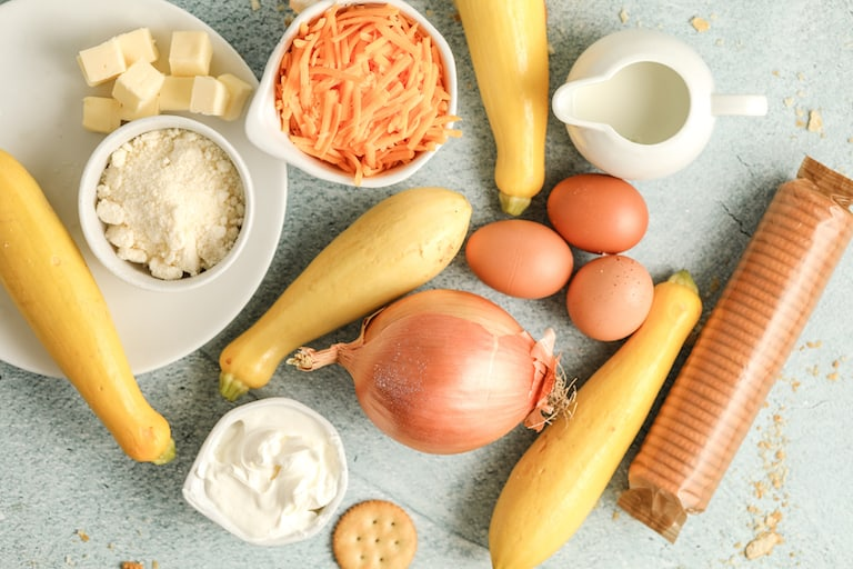 the ingredients needed to make southern yellow squash casserole