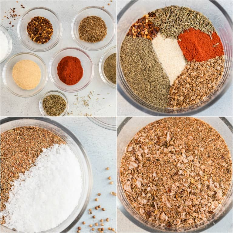 image collage showing the steps for making steak seasoning