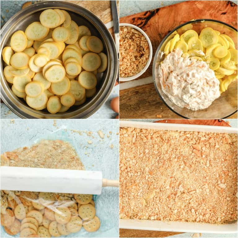 image collage showing the steps for making yellow squash casserole