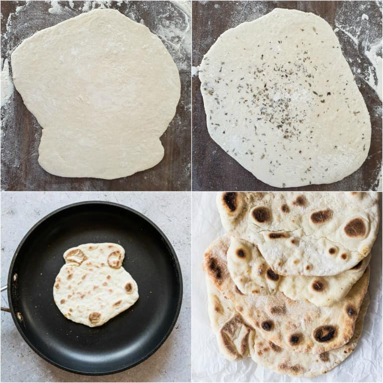 image collage showing the final steps for making the flatbread recipe