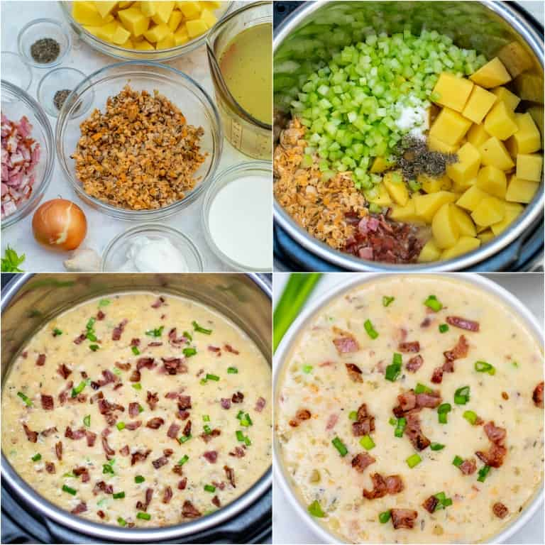 image collage showing the steps for making instant pot clam chowder