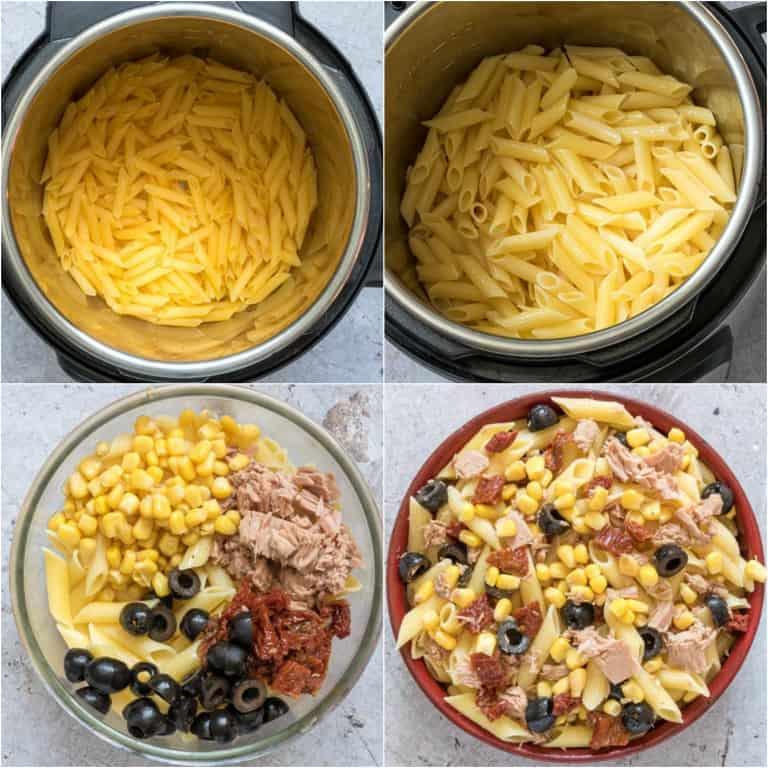 image collage showing the steps for making instant pot tuna pasta salad