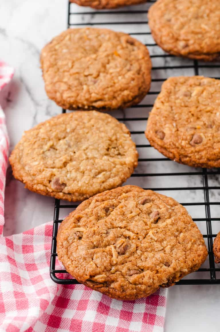 baked oatmeal cookies on a cooling rack