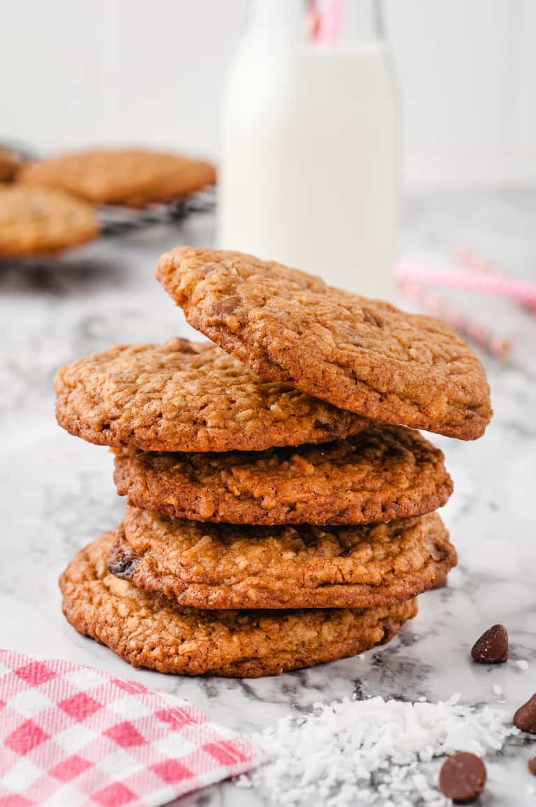 five oatmeal cookies stacked on top of each other