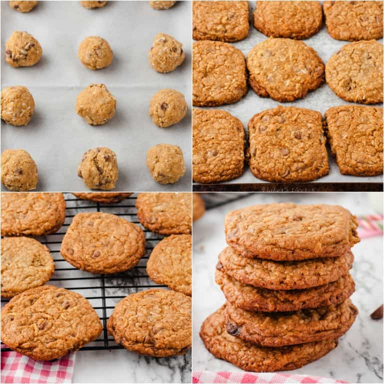 image collage showing the last few steps for making oatmeal cookies