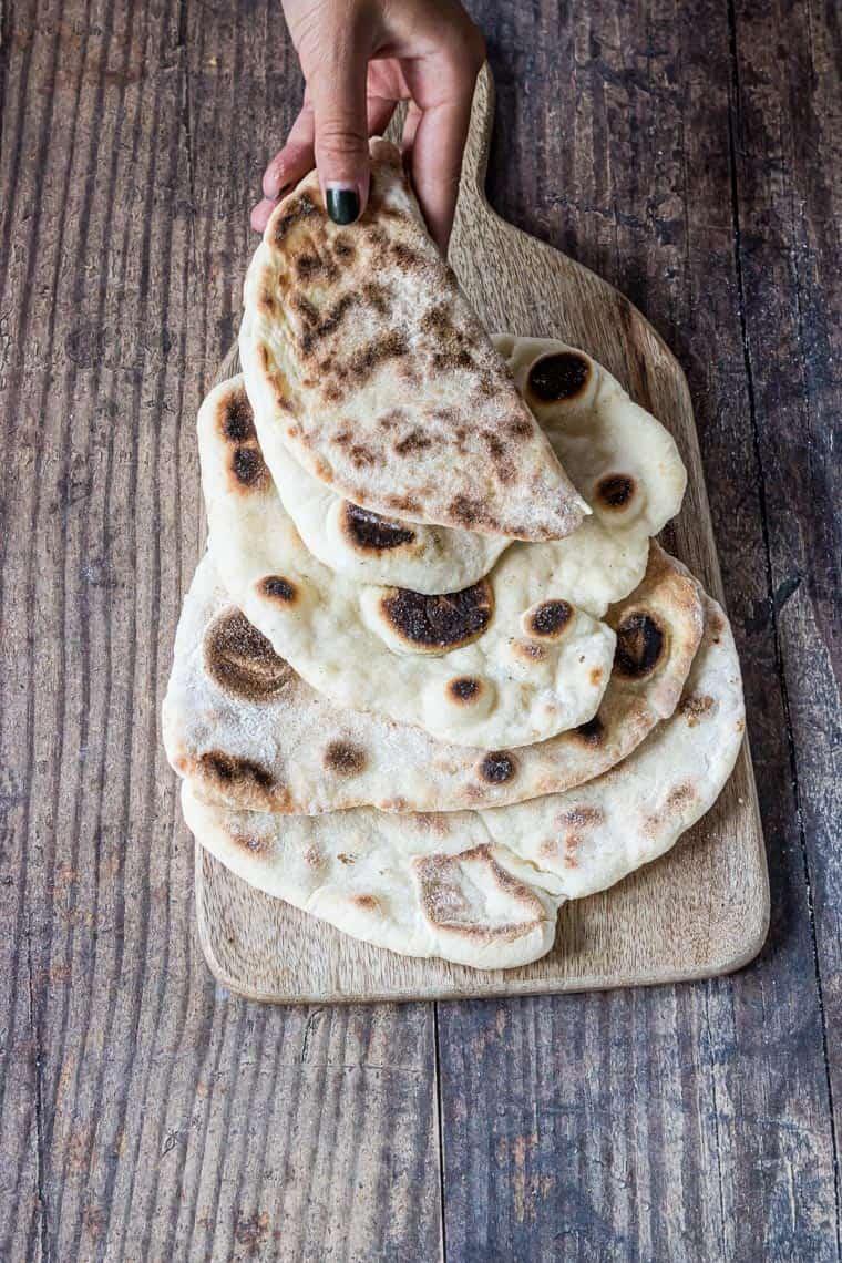 flatbread on a cutting board