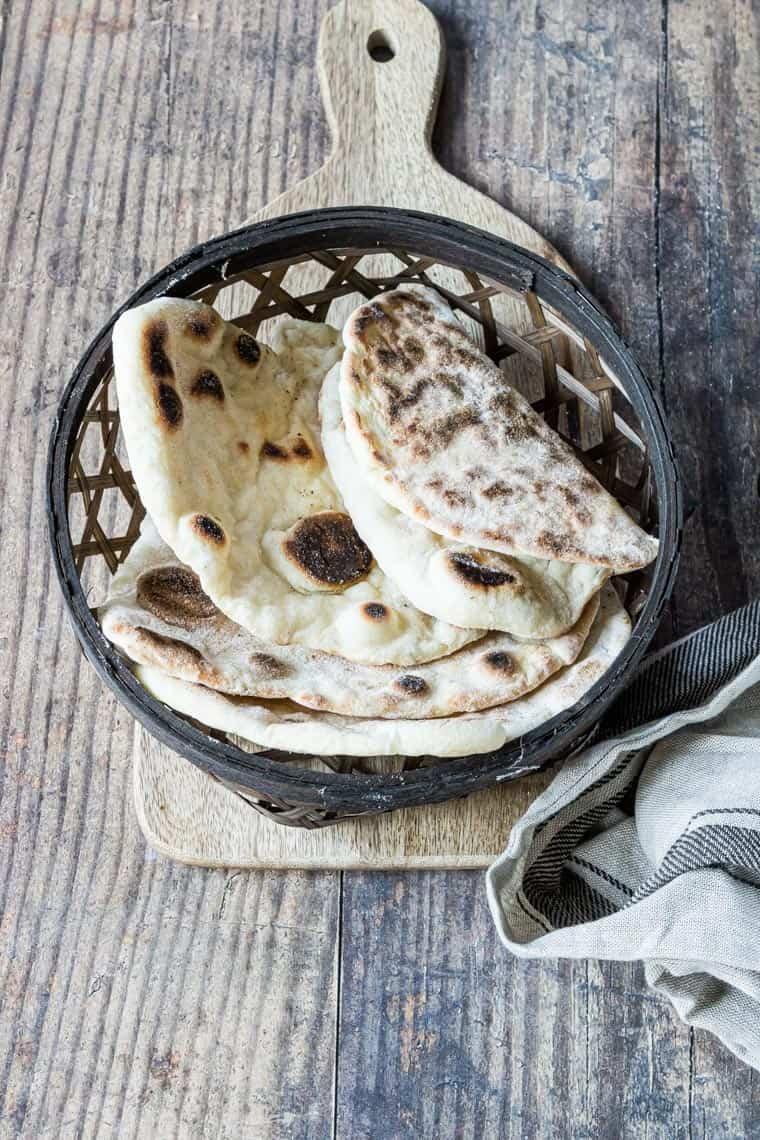 easy flatbread recipe served in a decorative basket