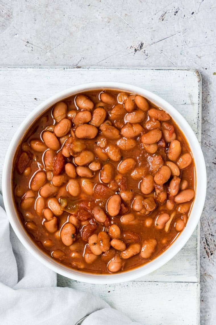 close up of pinto bean stew in a bowl