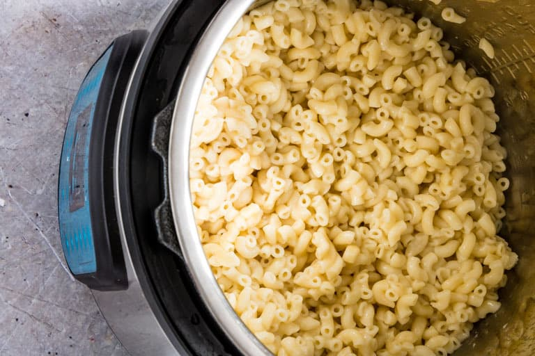 fully mixed instant pot mac and cheese inside an instant pot without lid