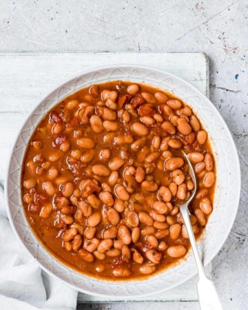 completed instant pot pinto beans recipe