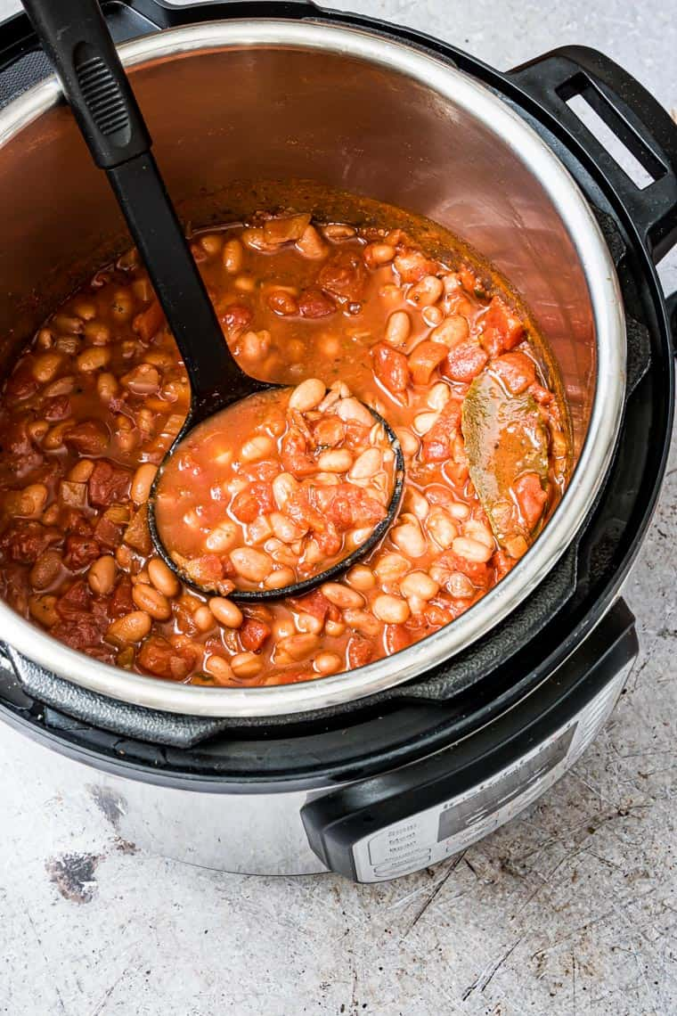 cooked instant pot pinto beans inside the instant pot