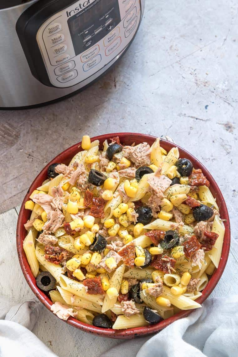 the finished tuna pasta salad recipe set in front of the instant pot
