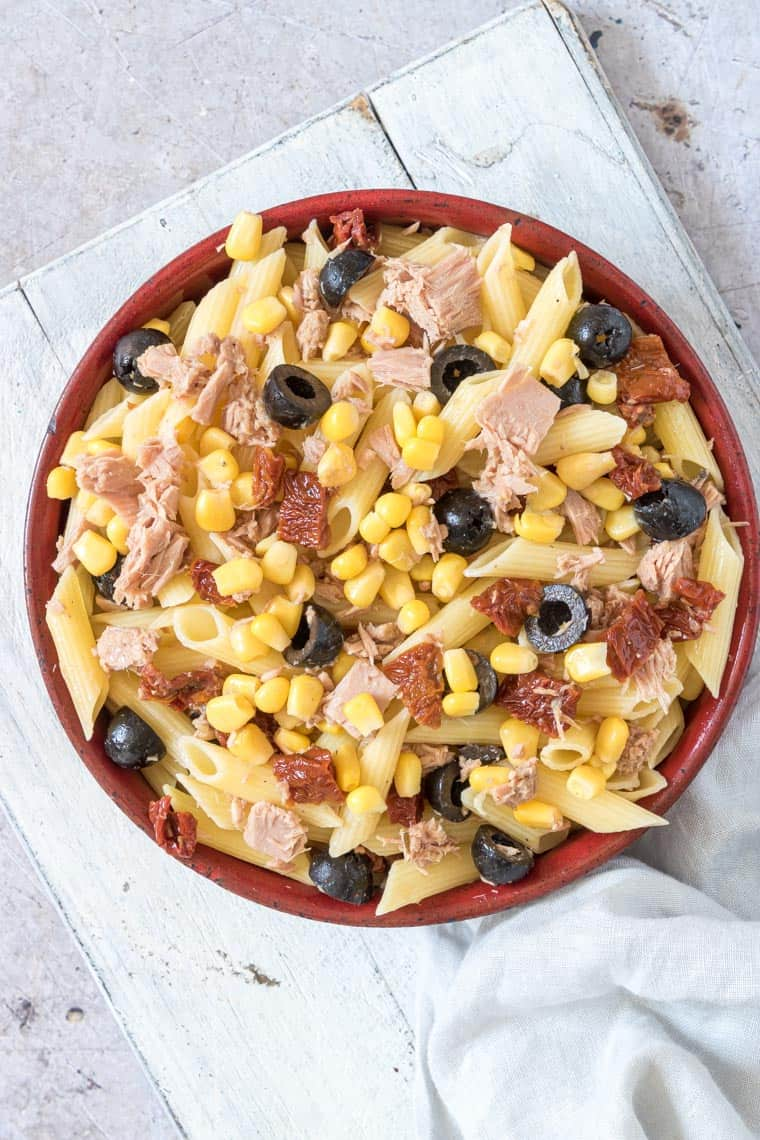 top down view of the completed tuna pasta salad recipe