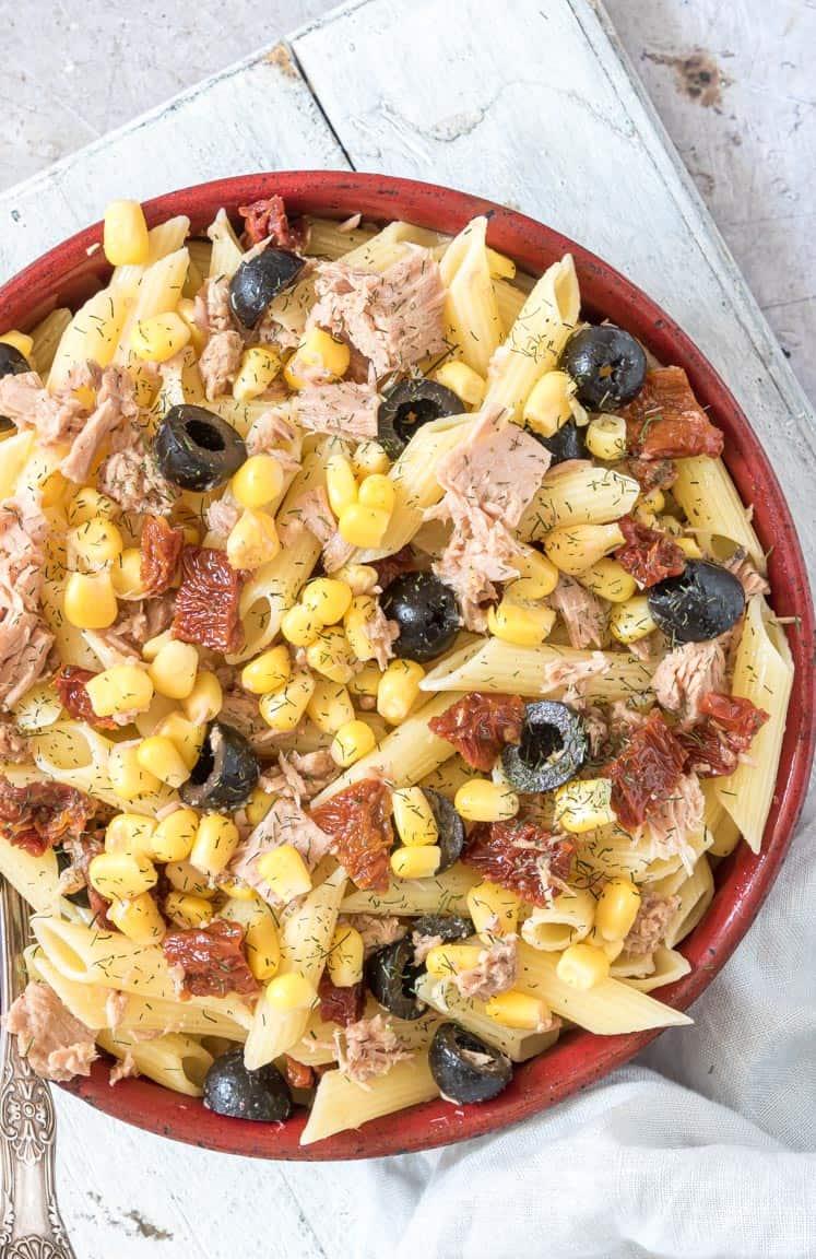 close up view of instant pot tuna pasta salad recipe