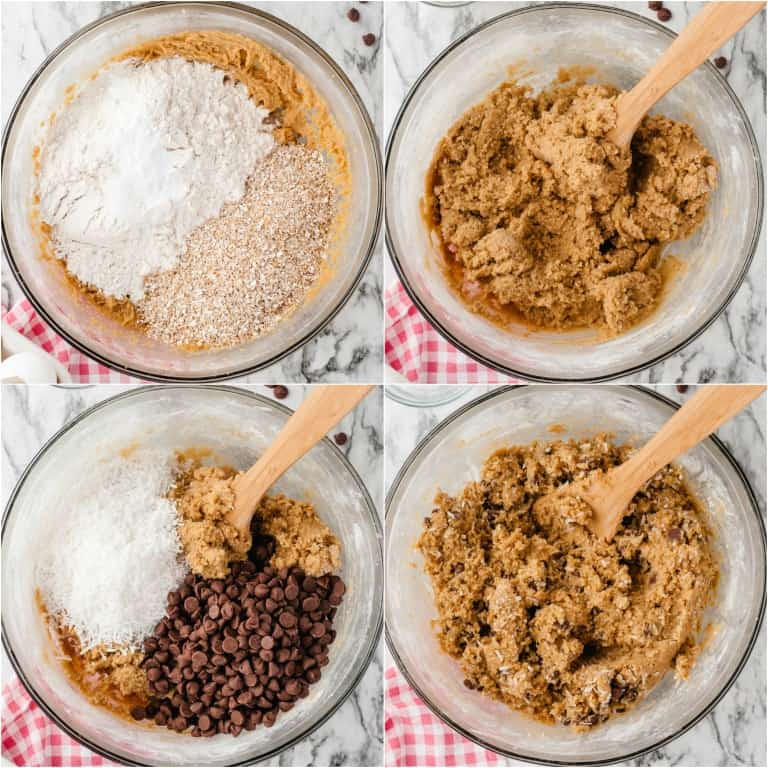 image collage showing the first four steps for making oatmeal cookies