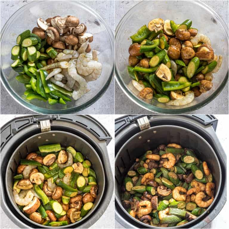 image collage showing the steps for making hibachi shrimp in air fryer