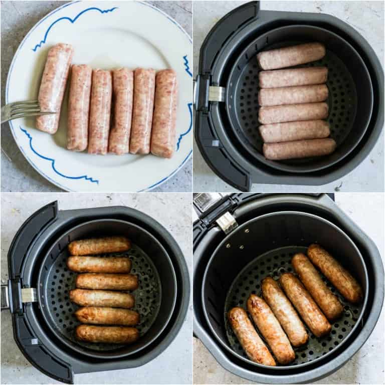 image collage showing the steps for making air fryer sausages