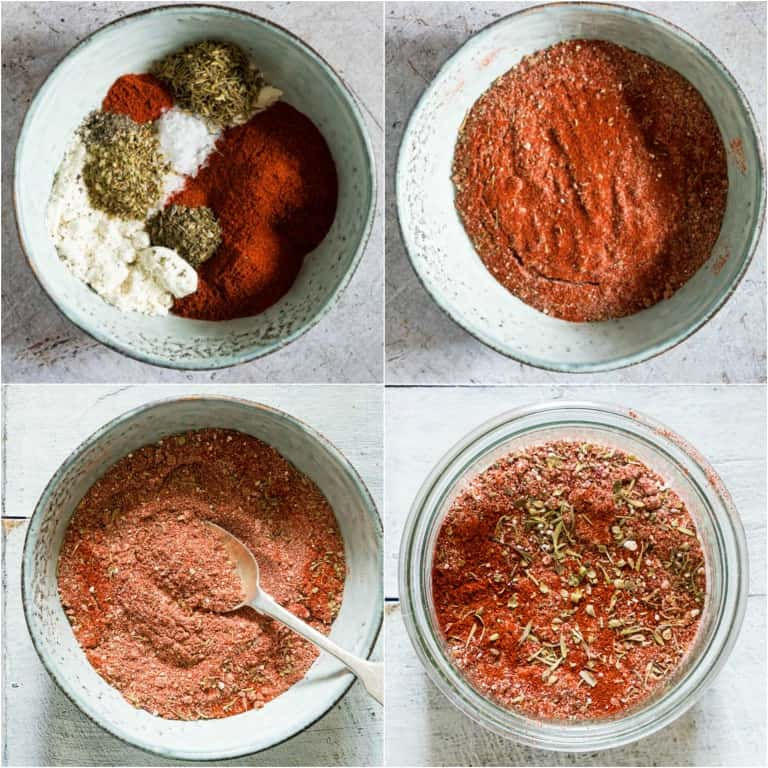 image collage showing the steps for making blackened seasoning