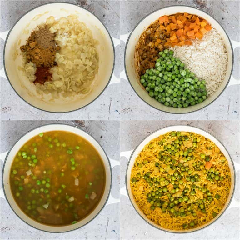 image collage showing the steps for making curry rice