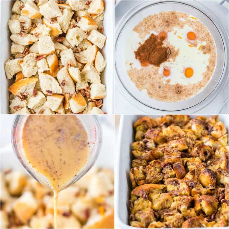 image collage showing the steps for making french toast casserole
