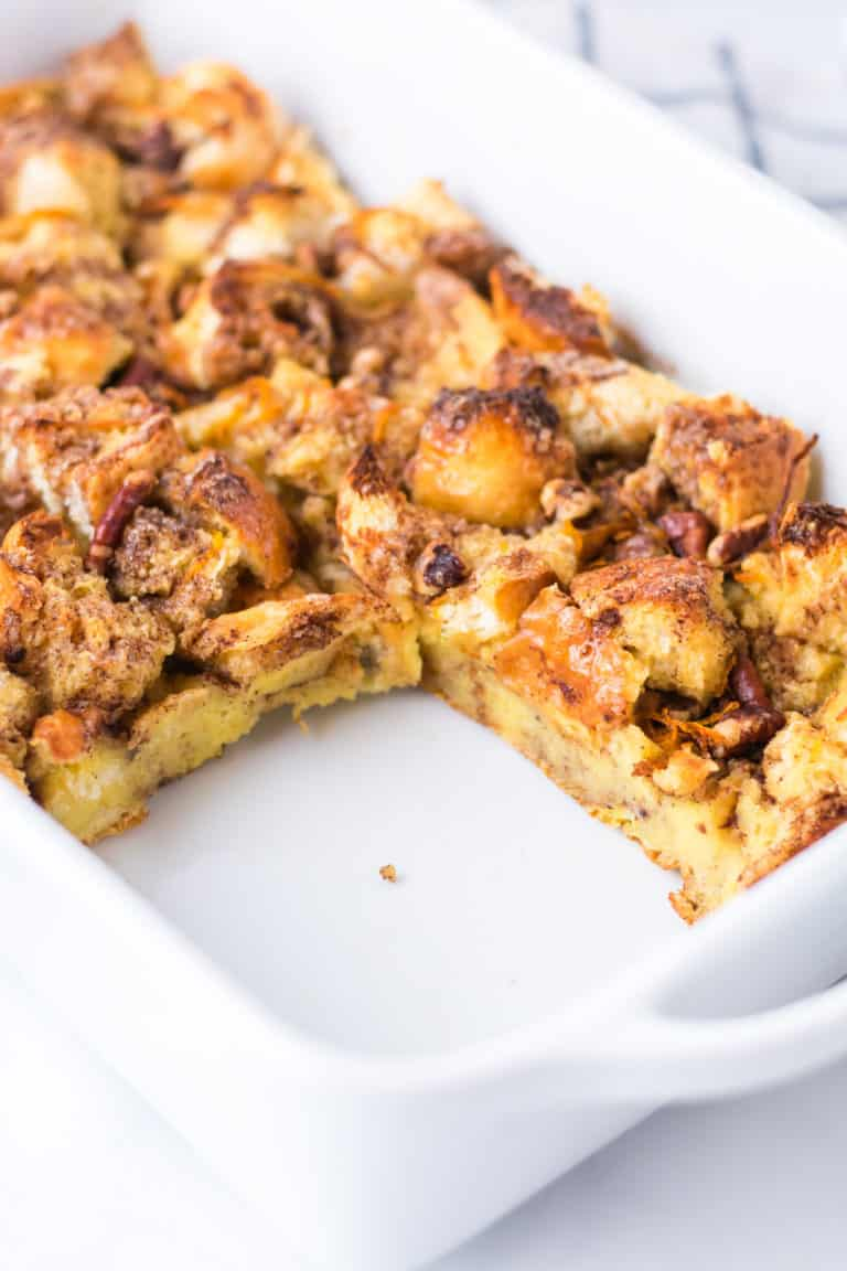 side view of the completed French Toast Casserole with one portion removed