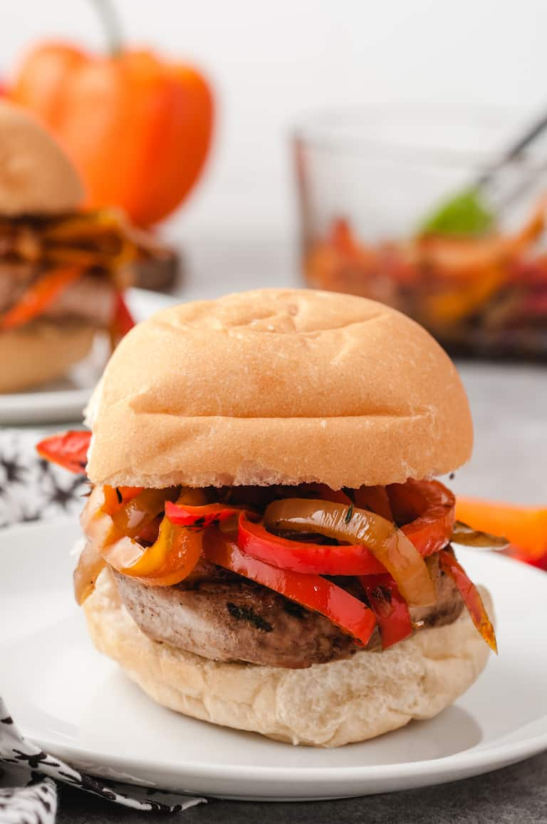 close up of a completed serving of this pork sliders recipe