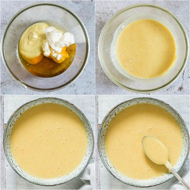image collage showing the steps for making honey mustard dipping sauce