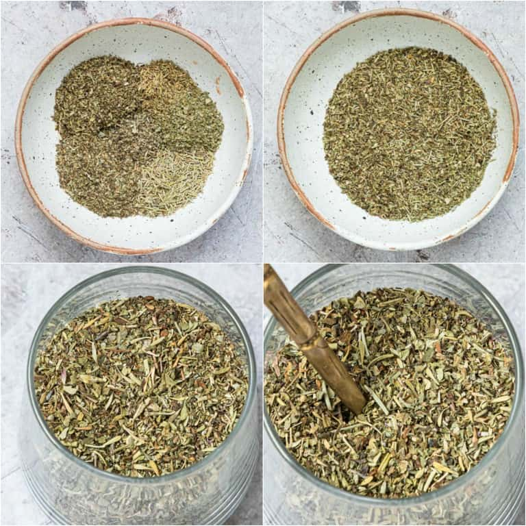 image collage showing the steps for making italian seasoning
